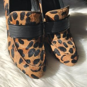 Rebecca Minkoff leopard&black raven loafer pumps